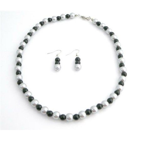 NS766  Silver & Black Pearls Jewelry Set At Reasonable Under $10 Necklace Set