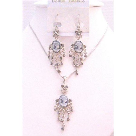 NS713 Cameo Pendant Necklace & Earrings Dangling Earrings Set Grey Cameo Lady Photo Jewelry Set