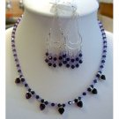 NSC123  Genuine Austrian Swarovski Amethyst Crystals Handcrafted Necklace Set