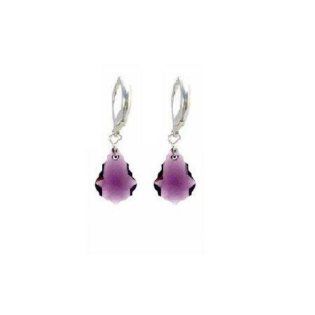 ERC621  Sterling 92.5 Leverback Baroque Amethyst Swarovski Crystals Earrings