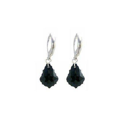 ERC623  Classy Stylish Jet Black Baroque Crystals Sterling 92.5 Earrings