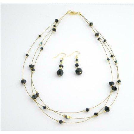 BRD985  Swarovski Jet Crystal Dress Jewelry Golden Three Stranded Necklace Set