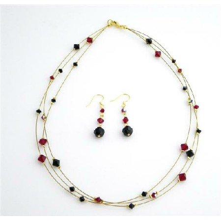 BRD986  Handmade Bridal Bridemaids Siam Red & Jet Crystals Dress Jewelry Set