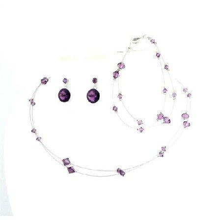 BRD988  Custom Jewelry Amethyst Crystals Double Stranded Necklace w/ Bracelet