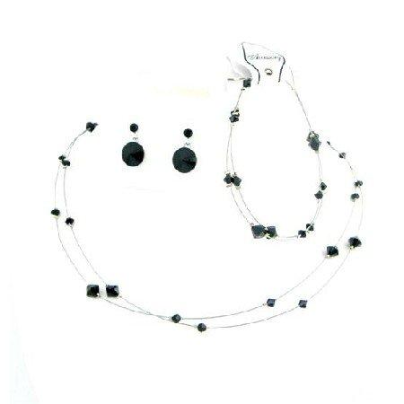 BRD991  Striking Smashing Black Dress Jewelry Affordable Buy Complete Set