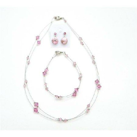 BRD993  Match Your Jewelry Rose Attire Get Affordable Genuine Crystals Jewelry