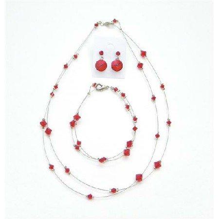 BRD994  Custom Jewelry Lite Siam Red Attire Affordable Genuine Crystal Jewelry