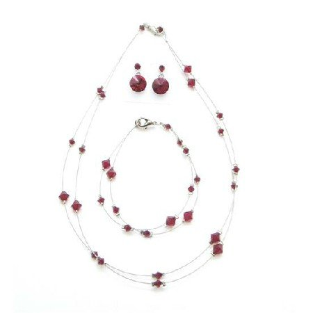 BRD995  Sexy Passion Red Jewelry Genuine Siam Red Crystals Necklace Set