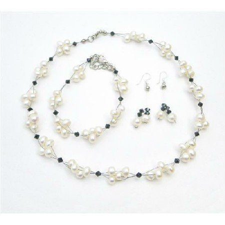 BRD001  Shop Bridal Jewelry Inexpensive Freshwater Pearls w/ Jet Crystals Set