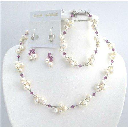 BRD002  Freshwater Pearls Swarovski Fuschia Crystals Bridal Bridemaids Jewelry