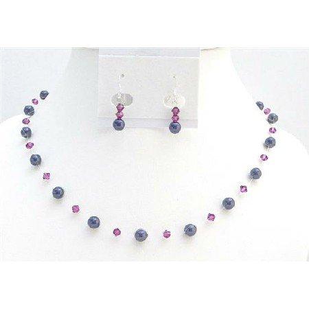 BRD003  Elegant Bridesmaids Gifts Dark Purple Pearls Fuschia Crystals Jewelry Set