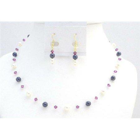 BRD004  Gold Plated Earrings Dark Purple Ivory Pearls Fuschia Crystals Set