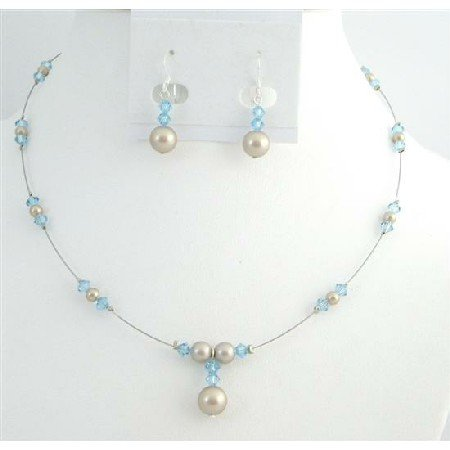 BRD008  Affordable Customize Jewelry Champagne Pearls Aquamarine Crystals Set