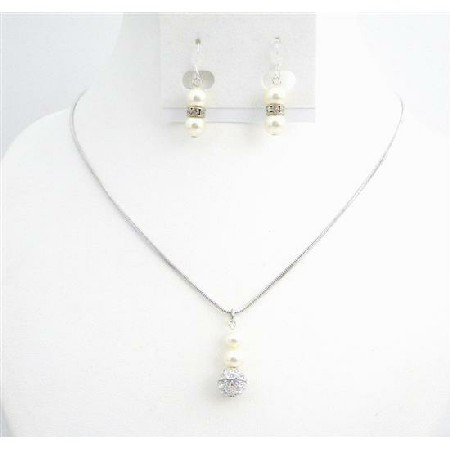BRD009  Affordable Ivory Jewelry w/ CZ Ball Dangling Earrings Necklace Set
