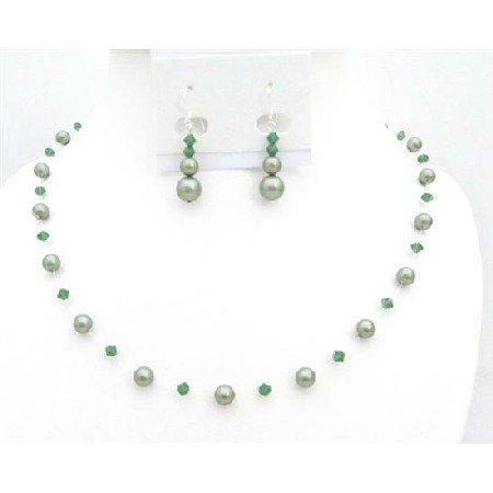 BRD010  Designer Swarovski Jewelry Clover Crystals w/ Green Pearls Jewelry Set