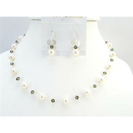 BRD011  Low Prices Ivory Pearls Smoky Quartz Swarovski Crystal Fashion Jewelry Set