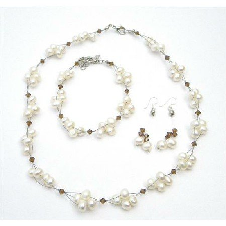 BRD997  Unique Bridal Jewelry Freshwater Pearls Smoked Topaz Crystals Set