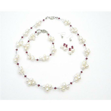 BRD998  Fashion Wedding Jewelry w/ Siam Red Crystals & Freshwater Pearls