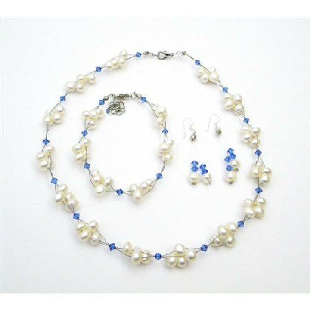 BRD999  Swarovski Crystals Bridal Jewelry Sapphire Crystals Freshwater Pearls Set