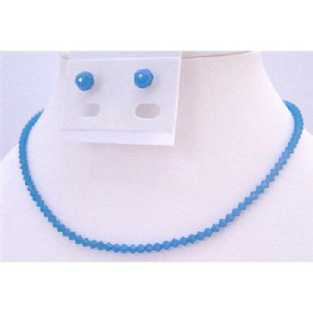 NSC682  Bridesmaids Jewelry Cheap Sapphire Crystals Necklace & Earrings Set