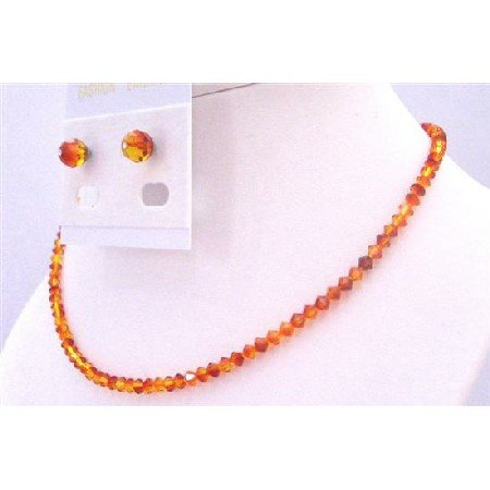NSC683  Swarovski String Inexpensive Wedding Jewelry Fire Opal Crystals Set