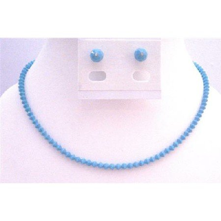 NSC687  Handmade Swarovski Turquoise Crystals Necklace & Stud Earrings Jewelry Set