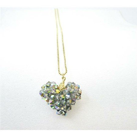NSC711  Golden Chain Handmade Swarovski Vitral Crystals Pendant Necklace