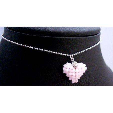 NSC713  Handmade Customize Puffy Heart 3mm Rose Alabasta Crystals Necklace