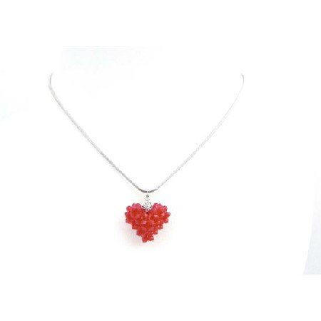 NSC715  Passion Bright Siam Red Crystals Small Dainty Heart Pendant Necklace