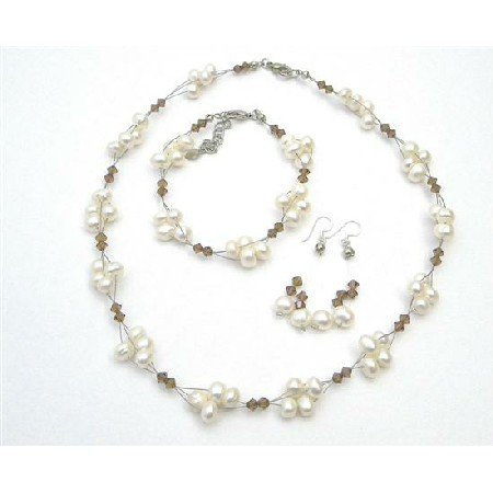 NSC716  Handmade Artisan Smoked Topaz Crystals Freshwater Pearls Necklace Set