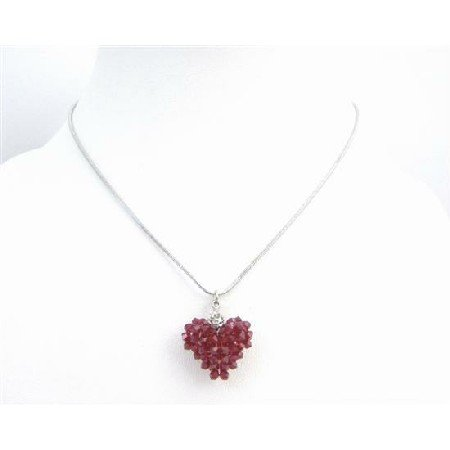 NSC719  Romantic Valentine Love Siam Red Crystals Puffy Heart Pendant Necklace