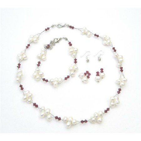 NSC720  Crystals Swarovski Siam Red Crystals & Freshwater Pearls Jewelry Set