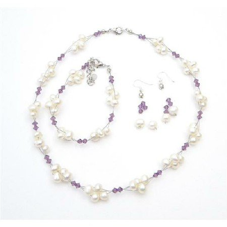 NSC722  Handcrafted Austrian Crystals Amethyst Freshwater Pearls Necklace Set