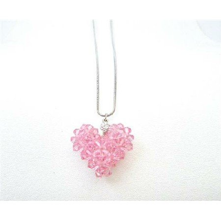 NSC725  Romantic Valentine Gift Lite Rose Crystals Puffy Heart Pendant Jewelry