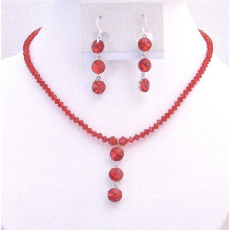 NSC729  Exquisite Passion Lite Siam Red Swarovski Crystal Pendant Necklace Set