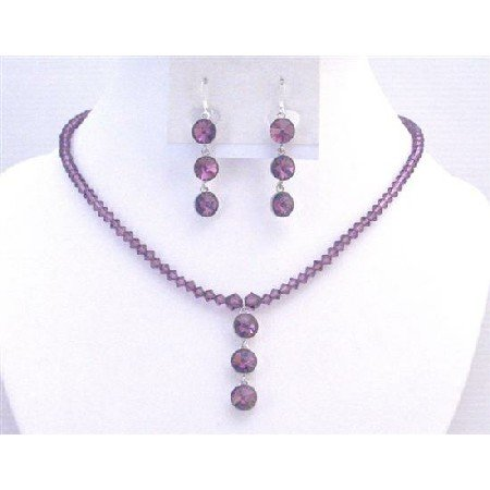 NSC731  Amethyst Dress Jewelry Crystals Jewelry In Your Own Color Necklace Set