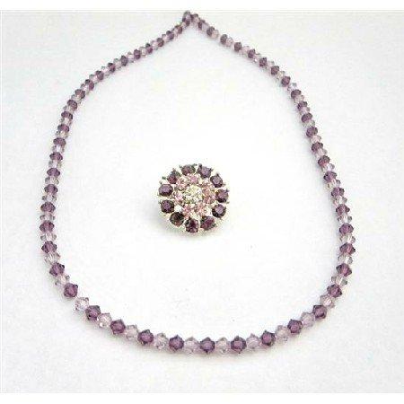 NSC737  Lite Dark Amethyst Brooch Matching Necklace Wedding Bridemaids Jewelry