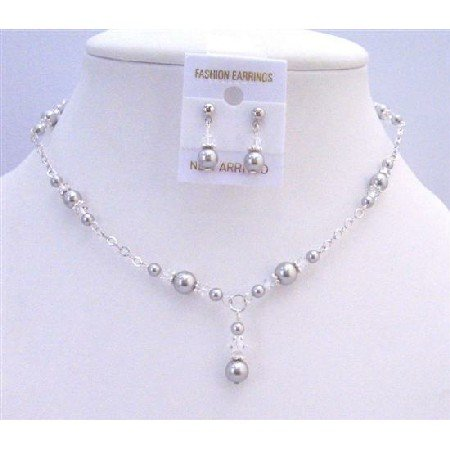 NSC739  Wedding Bridal Swarovski Lite Grey Pearls Clear Crystals Jewelry Set