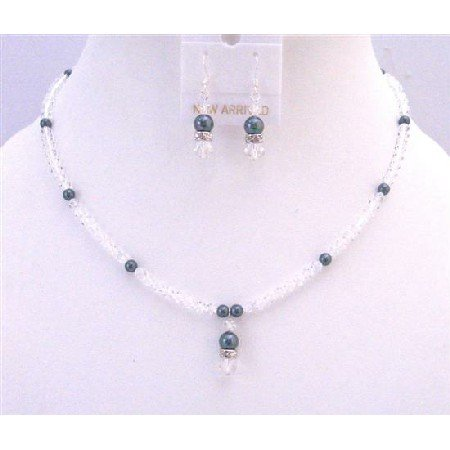 NSC740  Exclusive Clear Crystals & Tahitian Swarovski Pearls Necklace Set