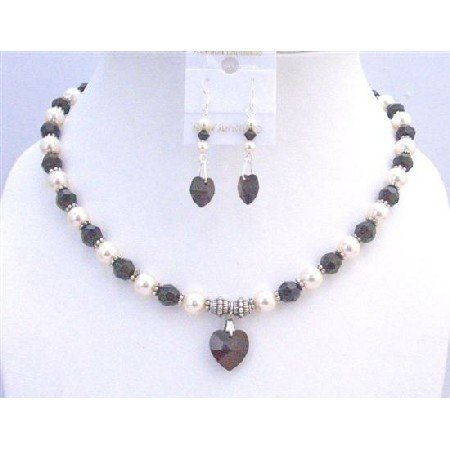 NSC743  Garnet Heart Pendant Jewelry Cream Pearls Bali Silver Spacer Necklace