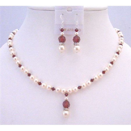 NSC745  Passion Jewelry Set Ivory Pearls & Siam Red Crystals Silver Rondells