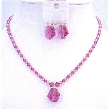 NSC746  Swarovski Cosmic Bead Pendant Earrings Rose & Fuschia Crystals Jewelry