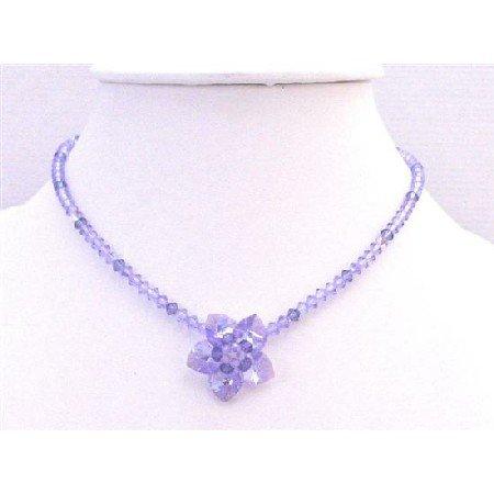 NSC747  Handmade Voilet & Amethyst Crystals Flower Heart Petals Necklace