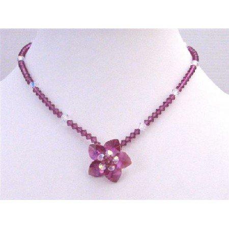 NSC749  Fuschia & Clear Swarovski Crystals Flower Pendant Handmade Jewelry