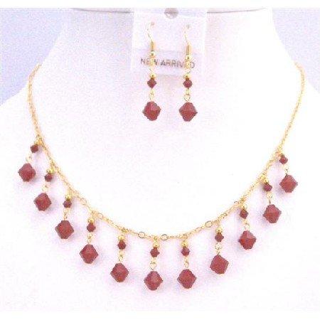 NSC750  Dark Red Coral Genuine Swarovski 22k Gold Plated Necklace Set Jewelry