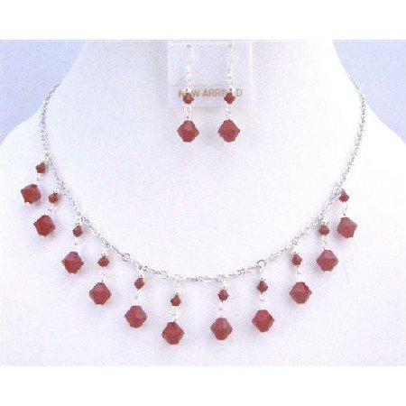 NSC751  Exquisite Dark Red Coral Swarovski Crystals Silver Plated Necklace Set