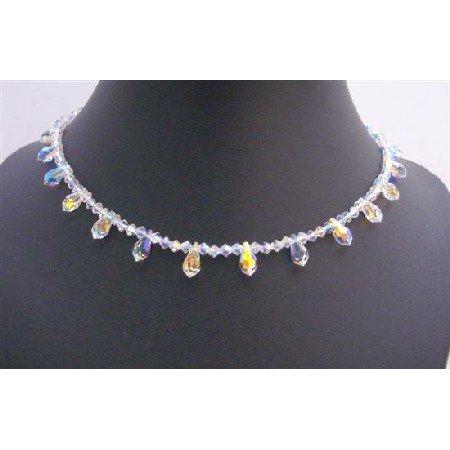 NSC752  AB Briolettes Round the Neck String Swarovski Crystals Mother Jewelry