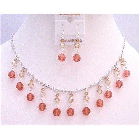 NSC757  Multi Swarovski Crystals Colorado Golden Shadow & Padparadscha Jewelry
