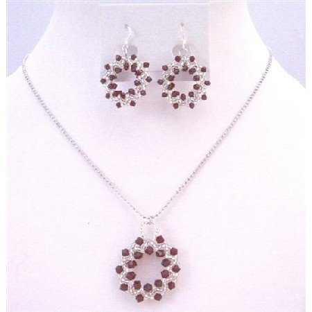NSC758  Japanese Glass Bead Swarovski Siam Red Crystals Round Pendant Necklace