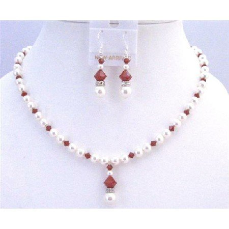 NSC759  Inexpensive Jewelry Claret Crystals w/ White Pearls & Diamond Spacer